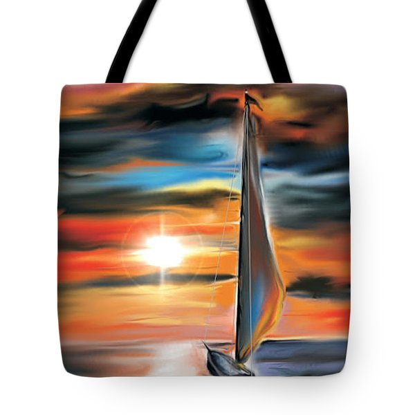 Tote Bag featuring the digital art Sailboat And Sunset by Darren Cannell