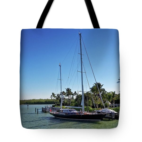 Tote Bag featuring the photograph Sailboat At Royal Harbor by Lars Lentz