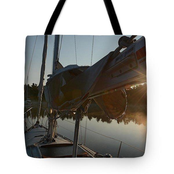 Sailboat At Sunrise Tote Bag