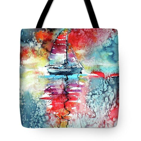 Sailboat At The Sinshine Tote Bag by Kovacs Anna Brigitta