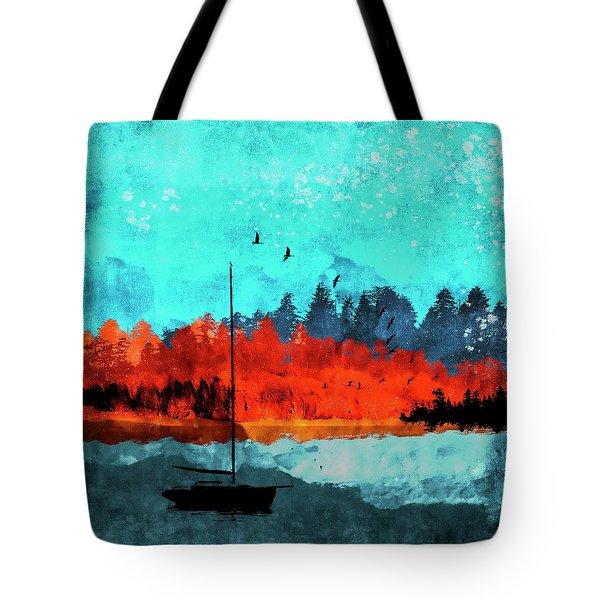 Sailboat Daybreak Lake Tote Bag