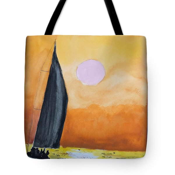 Tote Bag featuring the painting Sailboat by Donald Paczynski