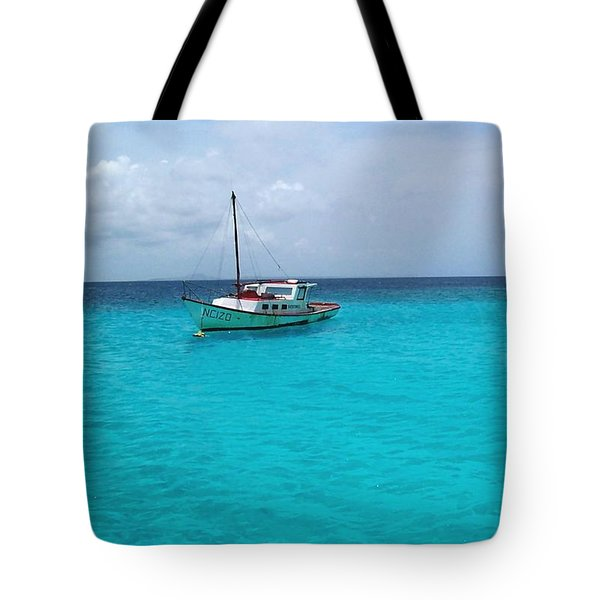 Sailboat Drifting In The Caribbean Azure Sea Tote Bag
