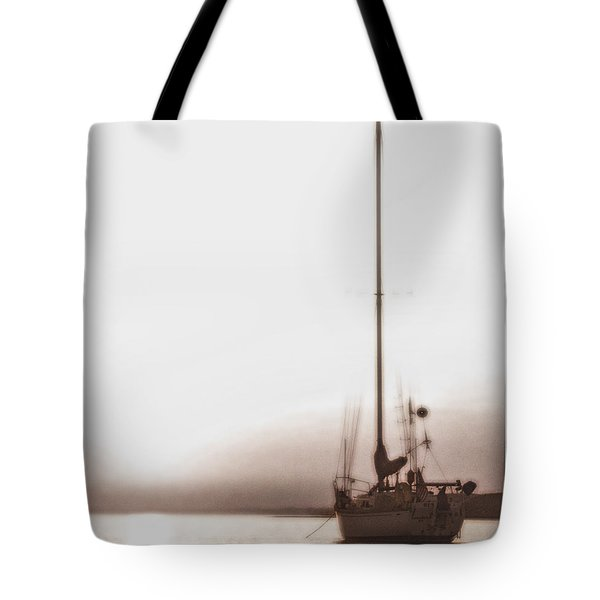 Sailboat In Fog Tote Bag