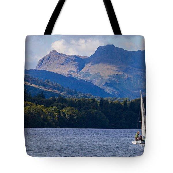Sailboat In Lake Windermere Tote Bag