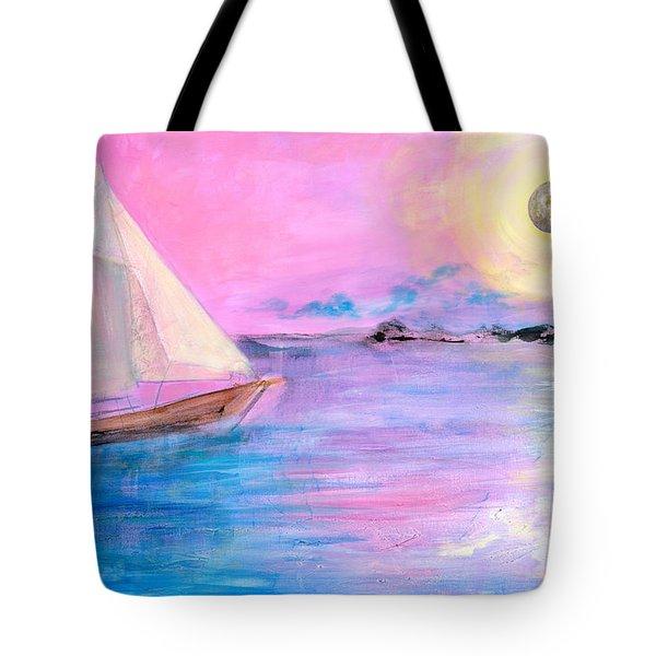 Sailboat In Pink Moonlight  Tote Bag