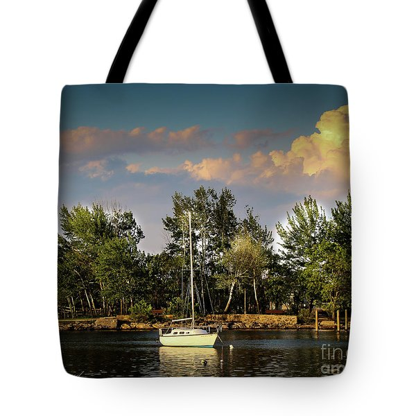 Sailboat In The Bay Tote Bag