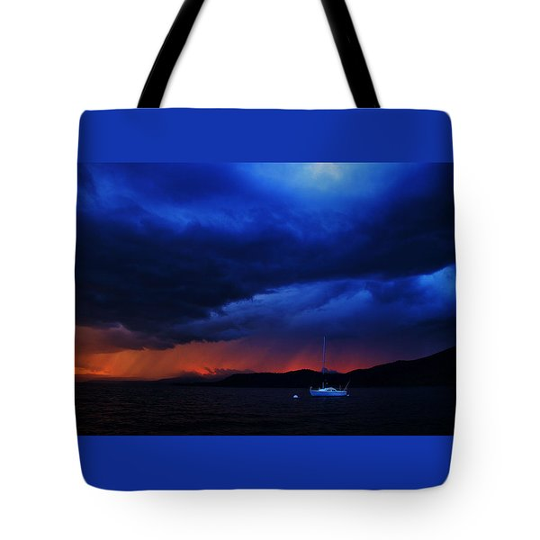 Tote Bag featuring the photograph Sailboat In Thunderstorm by Sean Sarsfield
