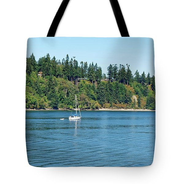Sailboat Near San Juan Islands Tote Bag