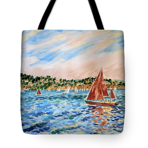 Sailboat On The Bay Tote Bag