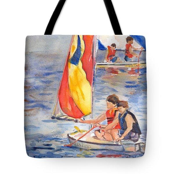 Sailboat Painting In Watercolor Tote Bag