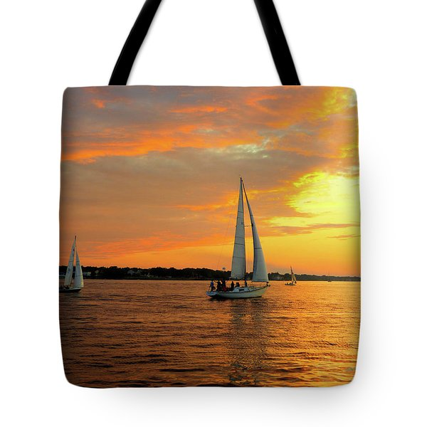 Tote Bag featuring the photograph Sailboat Parade by Robert Henne