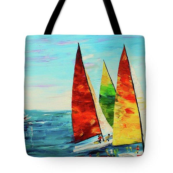 Sailboat Race Tote Bag