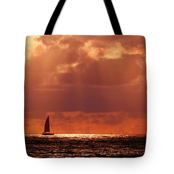 Sailboat Sun Rays Tote Bag