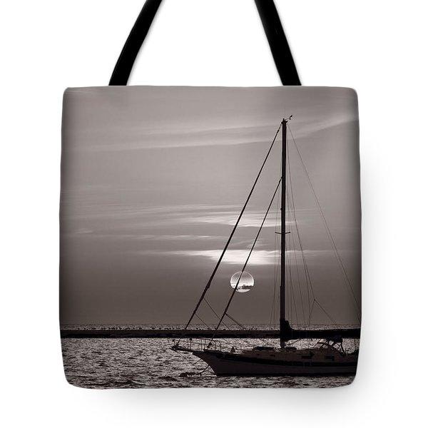 Sailboat Sunrise In B And W Tote Bag by Steve Gadomski
