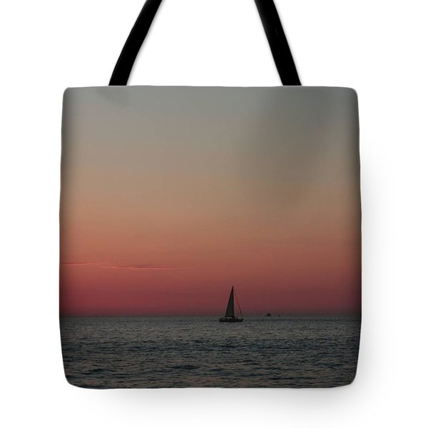 Tote Bag featuring the photograph Sailboat Sunset Sky by Ellen Barron O'Reilly