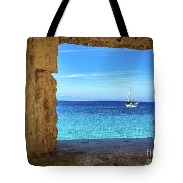 Sailboat Through The Old Stone Walls Of Rhodes, Greece Tote Bag