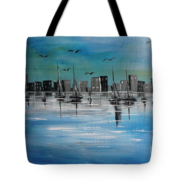 Sailboats And Cityscape Tote Bag