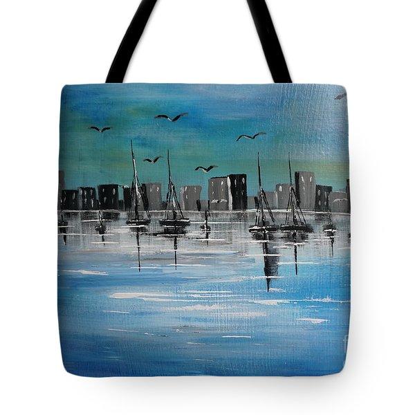 Sailboats And Cityscape Tote Bag