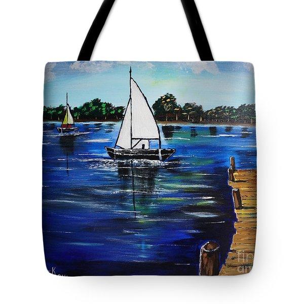 Sailboats And Pier Tote Bag