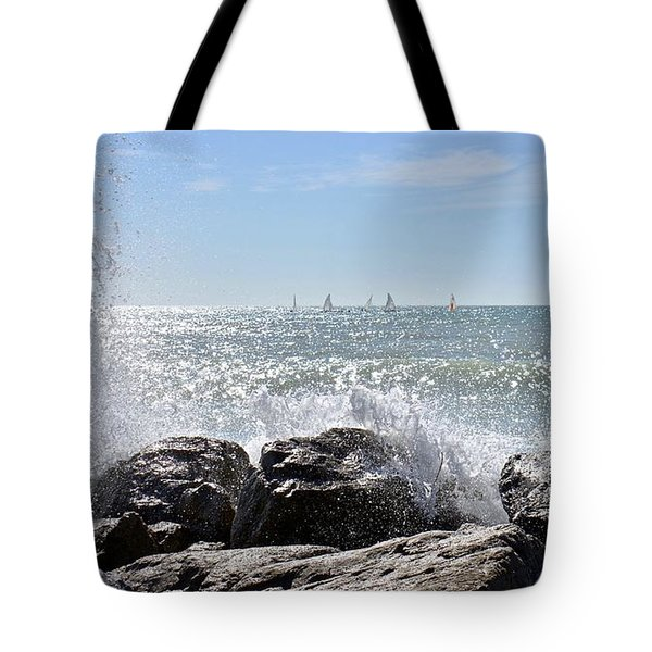 Sailboats And Surf Tote Bag