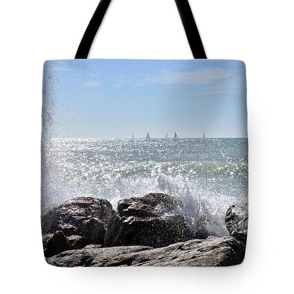 Sailboats And Surf Tote Bag by Carol Bradley