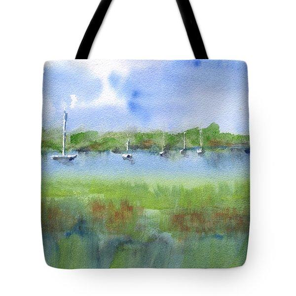 Sailboats At Beaufort Tote Bag by Frank Bright