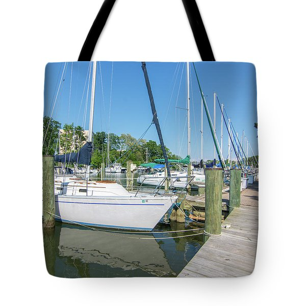 Tote Bag featuring the photograph Sailboats At Dock by Charles Kraus