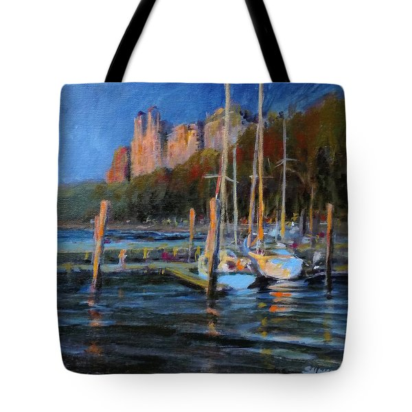 Sailboats At Dusk, Hudson River Tote Bag