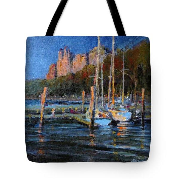 Sailboats At Dusk, Hudson River Tote Bag by Peter Salwen