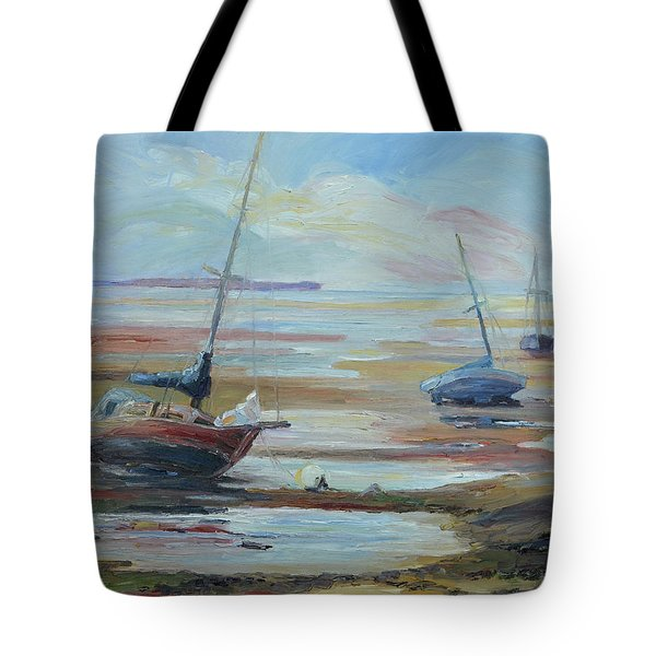 Sailboats At Low Tide Near Nelson, New Zealand Tote Bag by Barbara Pommerenke