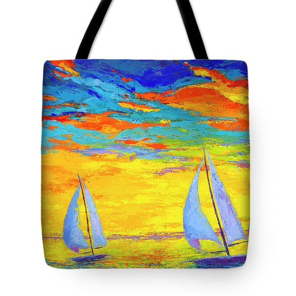 Tote Bag featuring the painting Sailboats At Sunset, Colorful Landscape, Impressionistic Art by Patricia Awapara