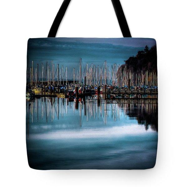 Sailboats At Sunset Tote Bag by David Patterson