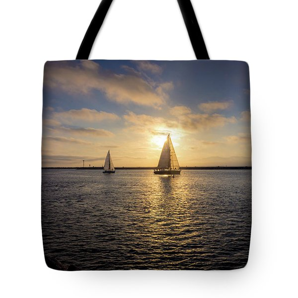 Tote Bag featuring the photograph Sailboats At Sunset by Andy Konieczny