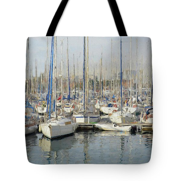 Sailboats At The Dock - Painting Tote Bag
