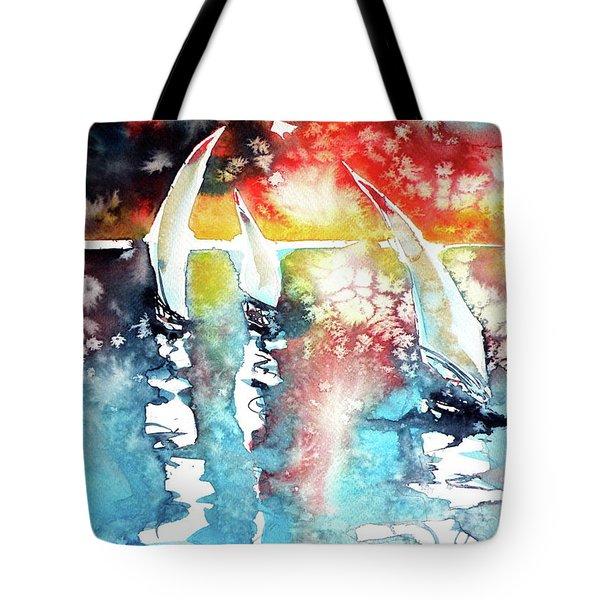 Sailboats At The Sunshine Tote Bag by Kovacs Anna Brigitta
