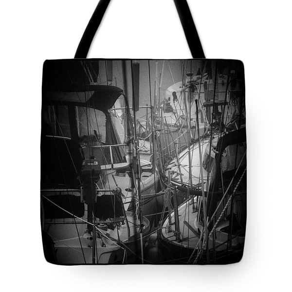 Sailboats Berthed In The Fog Tote Bag