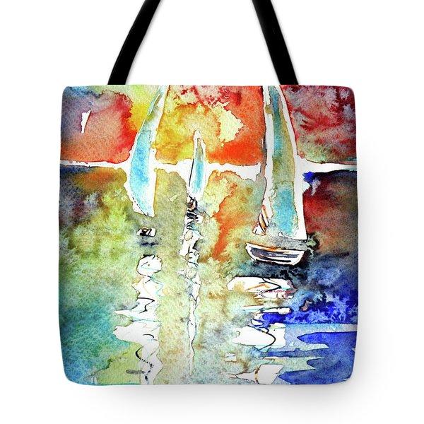 Sailboats In Light Tote Bag by Kovacs Anna Brigitta