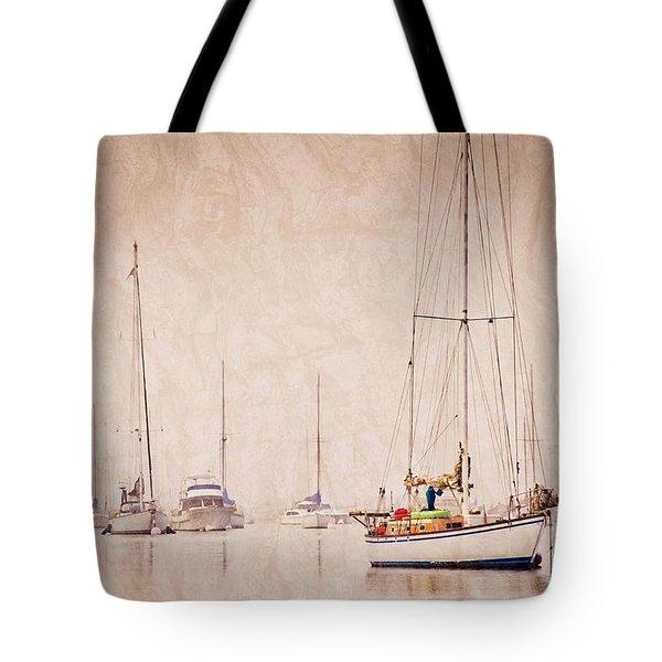 Sailboats In Morro Bay Fog Tote Bag