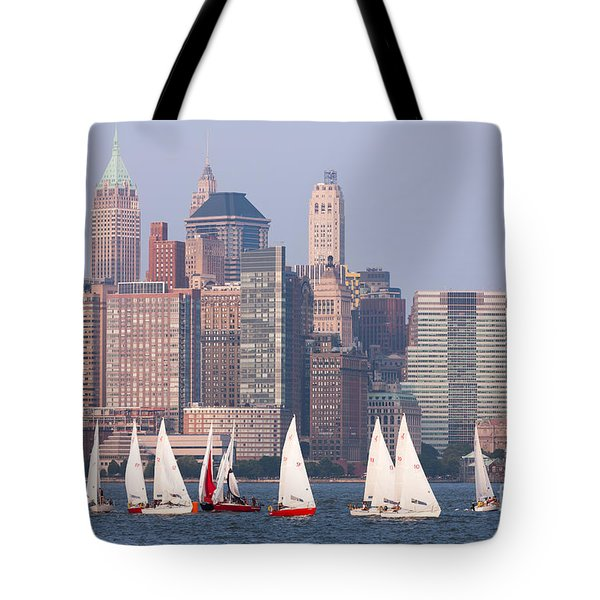 Sailboats On The Hudson II Tote Bag by Clarence Holmes