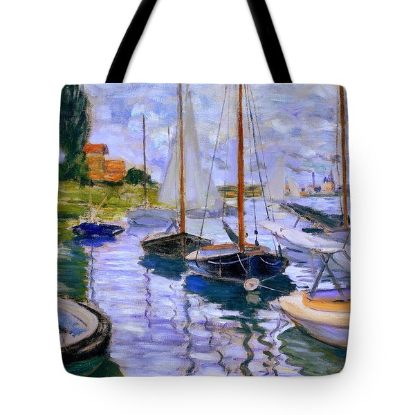 Sailboats On The Seine At Petit Gennevilliers Claude Monet 1874 Tote Bag