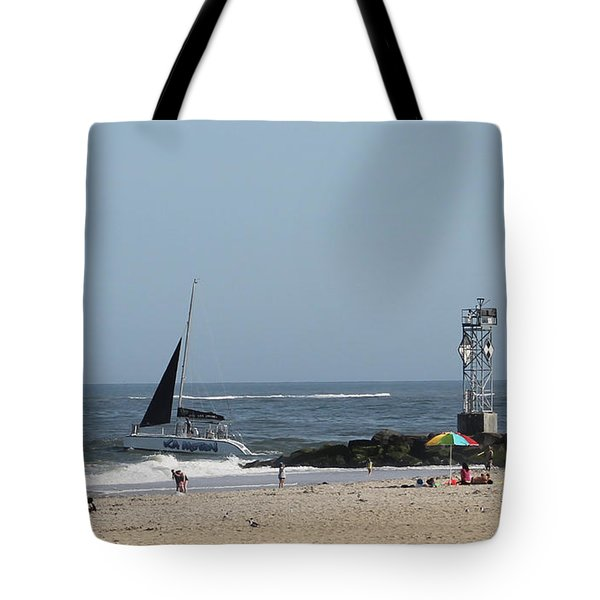 Sailing Around The Inlet Jetty Tote Bag by Robert Banach