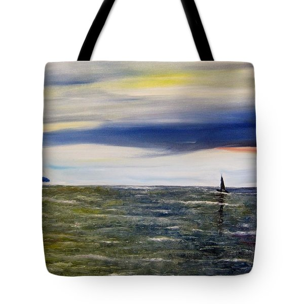 Sailing At Dusk Tote Bag by Marilyn  McNish