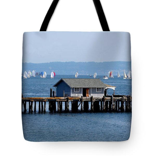 Sailing At Penn Cove Tote Bag by Mary Gaines