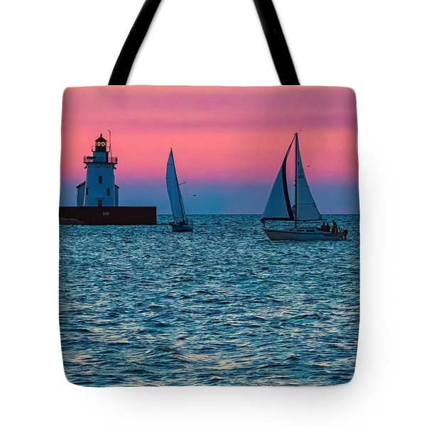 Sailing At The Cleveland Lighthouse  Tote Bag
