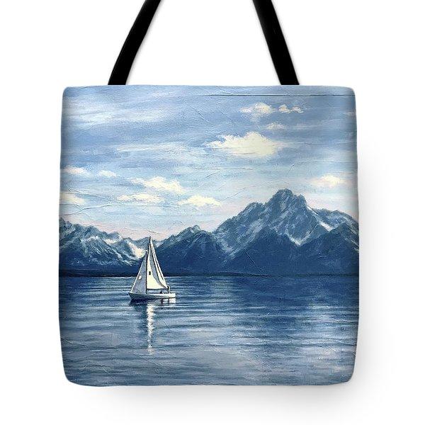 Sailing At The Grand Tetons Tote Bag