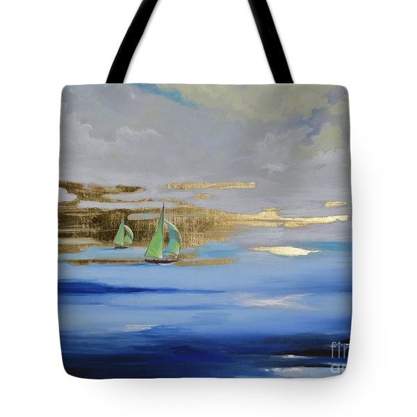 Tote Bag featuring the painting Sailing Away by Mary Scott
