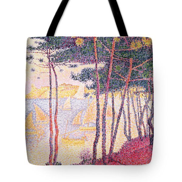 Sailing Boats And Pine Trees Tote Bag by Paul Signac