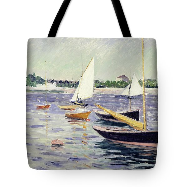 Sailing Boats At Argenteuil Tote Bag by Gustave Caillebotte
