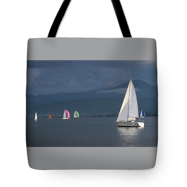 Sailing Boats By Stormy Weather, Geneva Lake, Switzerland Tote Bag
